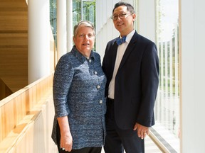 University of California President Janet Napolitano (left) and UBC President Santa Ono at UBC in Vancouver on July 23, 2019.
