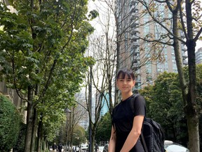 Tallyn Simpson lives in Yaletown where trees on private property, left, are flourishing, and trees on city property, right, appear to be struggling.