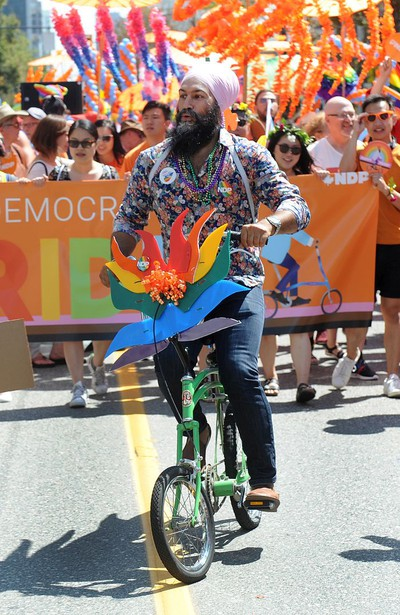 VANCOUVER, BC., August 4, 2019 - Federal NDP leader Jagmeet Singh in action during the 2019 Vancouver Pride Parade in Vancouver,  BC., August 4, 2019.  (NICK PROCAYLO/PNG)   00058300A ORG XMIT: 00058300A [PNG Merlin Archive]