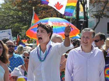 Prime Minister Justin Trudeau and Vancouver mayor Kennedy Stewart march in the Vancouver Pride Parade.