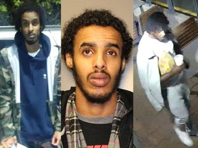 Surrey RCMP are still searching for Williams Daniels-Sey (right) in a forcible confinement case. Two other suspects, Hashi Jama Jama (left) and Hassan Avdirazak Shakib (middle) have turned themselves in to police.
