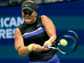 Bianca Andreescu of Canada hits a return to Taylor Townsend of the U.S. during their Round Four match at the 2019 U.S. Open on Sept. 2, 2019.