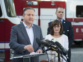 Vancouver mayor Kennedy Stewart joined Dr. Patricia Daly, Chief Medical Officer for Vancouver Coastal Health, and Vancouver Fire and Rescue Service's Capt. Jonathan Gormick to discuss the epidemic of drug-related deaths, at a press conference in Vancouver on Friday, September 6, 2019.