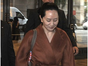 Huawei executive Meng Wanzhou leaves her disclosure application hearing at B.C. Supreme Court in Vancouver on Monday.