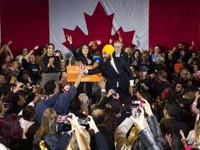 NDP leader Jagmeet Singh reaches out to the crowd at the NDP election night victory party, Burnaby, October 21 2019.