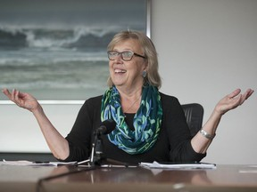 Vancouver, BC: SEPTEMBER 02, 2019 -- Green Party of Canada Leader Elizabeth May at the offices of the Vancouver Sun and The Province Wednesday, October 2, 2019.