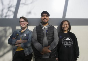 Tanysha Klassen, 23, (left), Mitchel Gamayo, 22, (centre), and Mandy Wan, 23, are with the B.C. Federation of Students. They are encouraging other young people to vote.