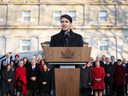 Prime Minister Justin Trudeau speaks after swearing-in his new cabinet during ceremony at Rideau Hall last week in Ottawa.