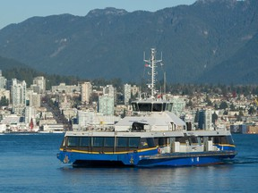 A Seabus travels from North Vancouver to Waterfront Station in Vancouver, BC, November 20, 2019.