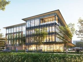 Rendering of U.S. retail giant Walmart's proposed new headquarters building in Bentonville, Arkansas, which will be built using engineered mass-timber wood components manufactured by Penticton-headquartered Structurlam Mass Timber Corp., which is building a new plant in Conway, Arkansas.