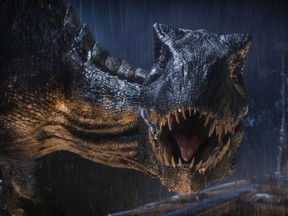 """The Indoraptor prepares to strike in """"Jurassic World: Fallen Kingdom.""""  When the island's dormant volcano begins roaring to life, Owen and Claire mount a campaign to rescue the remaining dinosaurs from this extinction-level event.  Welcome to """"Jurassic World: Fallen Kingdom."""""""