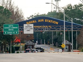 A general view of the atmosphere at the Pensacola Naval Air Station main gate following a shooting on Friday, Dec. 6, 2019 in Pensacola, Fla.