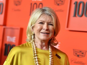 US executive Martha Stewart arrives on the red carpet for the Time 100 Gala at the Lincoln Center in New York on April 23, 2019.