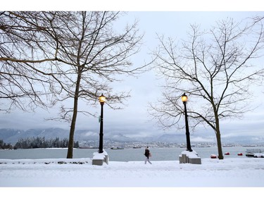 A woman walks along the seawall near Coal Harbour, with North Vancouver in the background, after a snow storm in downtown Vancouver, British Columbia, Canada January 15, 2020. REUTERS/Jesse Winter