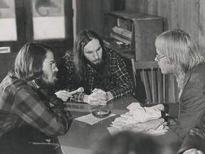 Jan. 20, 1972 – Georgia Straight staff Mason Dixon (left) and Ken Lester (centre) meet with publisher Dan McLeod in this 1972 archive photo.