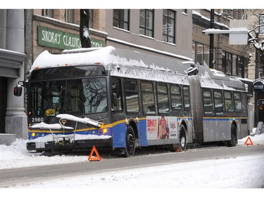 Buses in trouble as the Lower Mainland is under an extreme weather warning with most schools closed and people advised to stay home if possible in Vancouver on Jan. 15, 2020.