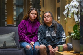 Maxwell Johnson and his granddaughter, Tori, 12, in Vancouver on Jan. 20.