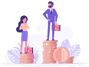 Businessman and businesswoman are standing on stacks of coins representing wages level. Gender gap and inequality in salary. Sexism and discrimination. Getty Images/iStockphoto [PNG Merlin Archive]