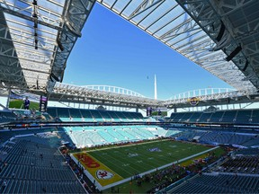 The Hard Rock Stadium is seen before the Super Bowl LIV between the San Francisco 49ers and the Kansas City Chiefs in Miami, Florida on February 2, 2020.