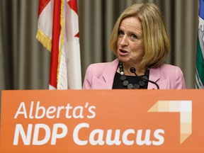 Official Opposition NDP Leader Rachel Notley speaks about a letter sent by Chief Allan Adam of the Athabasca Chipewyan First Nation regarding the Teck Frontier mine and the Indigenous Opportunities Corporation alleging a lack of government consultation during a press conference in Edmonton, on Wednesday, Feb. 12, 2020.
