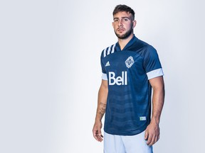 Lucas Cavallini models the Vancouver Whitecaps' new 'Wave' jersey.
