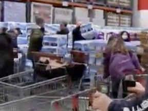 A Facebook video posted Sunday that purportedly shows the opening hour dash for toilet paper at a Langley Costco has been shared thousands of times, drawing criticism, laughs and buyer panic.