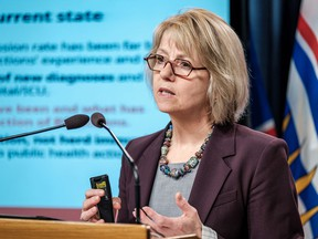 Provincial health officer Dr. Bonnie Henry says there are many essential workers travelling across borders and many of the people driving vehicles with Alberta plates could be B.C. residents.