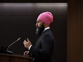 NDP leader Jagmeet Singh speaks during a press conference on the federal government's response to COVID-19, in West Block on Parliament Hill in Ottawa, on Saturday, April 11, 2020.