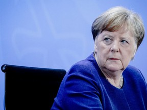 German Chancellor Angela Merkel at a news conference in Berlin, Germany, on April 30, 2020. Merkel has been among the world leaders calling for green recoveries.