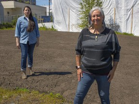 Anne Riley (left) and T'uy't'tanat-Cease Wyss are the Indigenous women behind A Constellation of Remediation, a public art work that is taking root in a vacant corner lot at Commercial Drive and East Hastings Street.