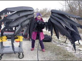 Prudence Emery with Alice Cooper's wings from the 2009 film Suck. The Toronto-shot movie also included other rock luminaries Iggy Pop, Henry Rollins and Alex Lifeson.