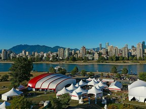 The Bard on the Beach site at Vanier Park in 2018 taken from a photo blimp.
