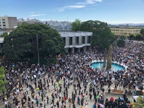 Thousands of people filled Centennial Square in Victoria on Sunday and spilled onto surrounding streets on Sunday for the Peace Rally for Black Lives.