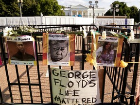 A makeshift memorial is pictured on the fence in front of the White House during a demonstration against racial inequality in the aftermath of the death of George Floyd.
