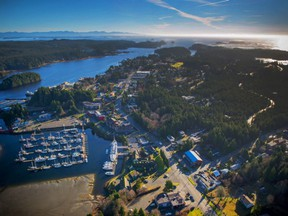 An aerial view of Ucluelet. The B.C. government is expected to give an update this week on its restart, including when people will be able to travel across the province.