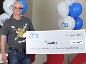 Aldergrove man Ronald Cumiskey won $24 million after matching all six numbers in the May 27, 2020 Lotto 6/49 draw.