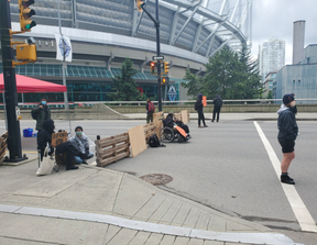 Anti-racism demonstrators continued to block the Georgia and Dunsmuir viaducts on Sunday in a continued protest against police brutality.