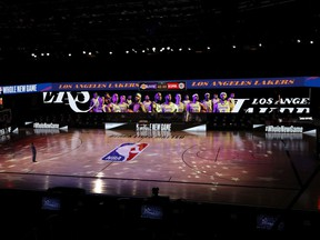 A general view the court with Black Lives Matter written above the NBA logo is seen at centre court prior to the game between the L.A. Clippers and the Los Angeles Lakers at The Arena at ESPN Wide World Of Sports Complex on July 30, 2020 in Lake Buena Vista, Florida.