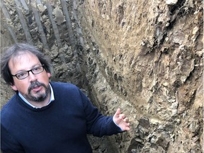 Internationally renowned soil scientist Pedro Parra analyzing the Cowichan Valley soils at Blue Grouse Vineyards.