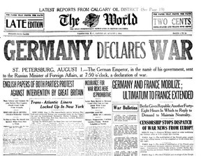 The front page of the Aug. 1, 1914 Vancouver World featuring the declaration of war between Germany and Russia, which sparked the First World War. The headline was in red, this copy is from microfilm.