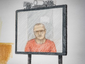 In this courtroom sketch, Jamie Bacon appears via video link in B.C. Supreme Court, in Vancouver, on Thursday, July 9, 2020. Reputed gang leader Bacon has pleaded guilty to a charge stemming from the 2007 shootings. The plea brings an end to a complex legal case that has spanned more than a decade.