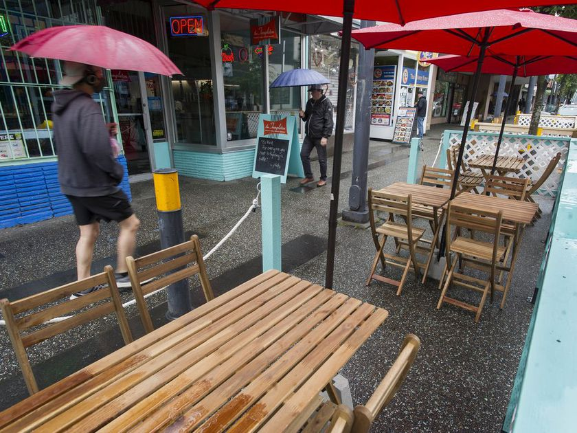 Restaurants that were closed for months because of the COVID-19 outbreak must now contend with rainy weather and cool temperatures. Pictured is an empty patio on Friday at The Templeton on Granville Street.