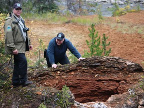 Peter Crawford (standing) and Darren Fillier of B.C. Parks at the Big Kettle Fumarole.