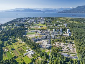 An aerial view of the University of B.C. campus, looking to the northwest, in 2016.
