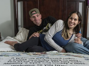 Brad Wernicke and Becky Bird in their 'hotel' room.