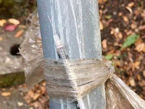 An uncapped syringe was found taped to a handrail at Beacon Hill Park on Sunday. Aug. 2, 2020
