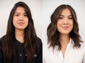 Kristen Young is a 31-year-old real estate broker who was looking for a makeover in advance of moving to Toronto. On the left is Young before her makeover by Nadia Albano, and on the right is her after. Photo: Nadia Albano.