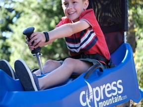 The Cypress Mountain Coaster will feature almost two kilometres of track at almost 300 metres in the air, travelling at about 40 km/h.