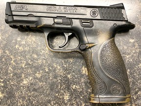 Victoria police say they seized a replica firearm from a vehicle near a school on Thursday.