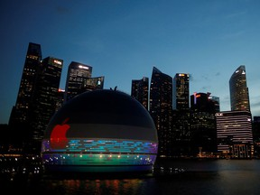 A view of the upcoming Apple store at the Marina Bay Sands in Singapore, Aug. 31, 2020.